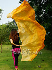 orange fading 3yd belly dance silk veil+bag,light 5mm paj silk, edges rolled