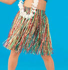 Girls Multi Coloured Hawaiian Hula Fancy Dress Grass Skirt