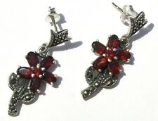 PRETTY RED ANEMONE Markasit 12x facettierter Granat 925 Silber Ohrringe earring