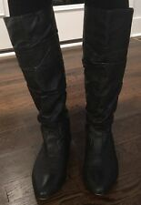 STEVE MADDEN Black Ruched Leather Tall Flat Riding Slouch Boot 6