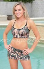 Sexy Camo STRETCH LYCRA MINISKIRT/9 inch/Made in USA/Model/Dancer/Clubwear/S-M