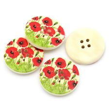 "6 Wooden Buttons Round Poppy Fields design 30mm(1 1/8"") Sewing"