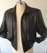 JEAN PIERRE Argentina Vintage 70s Jacket Leather Biker Mens 44 Large Brown