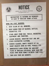 vintage Notice Office of Civilian Defense poster funny nuclear bomb warning 6627