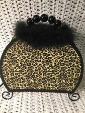 LEOPARD Animal Print PURSE LAMP Light Weight Table Top Lamp With  Fur & Beads!!!