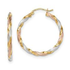 14k Tri-Color Gold Polished and Satin Twisted Hinged Hoop Earrings 34mm x 3mm