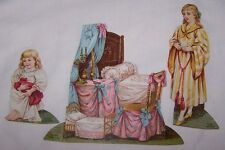 LATE 1800'S ANTIQUE SET- LION COFFEE PAPER DOLLS-THE BEDROOM-3 PIECES