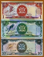 SET Trinidad and Tobago $1;5;10 2006 (2014-2015), P-New, New Sign. UNC   Braille