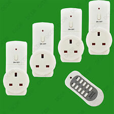 4x Wireless UK Plug-In Energy Saving Mains Socket Switch Set With Remote Control