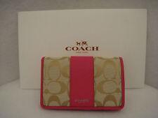 COACH New York Legacy Signature Clutch Wallet Light Khaki Pink Ruby 51470 NWTs