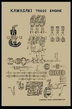 Vintage Kawasaki H2 750 Exploded Engine Motor Diagram Poster 2' x 3' Reprint