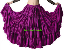 Satin 12 Yard Tiered Gypsy Skirt Belly Dance Tribal Ruffle Costume Jupe Flamenco