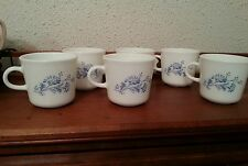 6 Corning Ware Corelle Colonial Mist Coffee Tea Cups Mugs ~ White Blue Flower