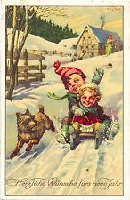 Neujahr, Kinder, Schlitten, Hund, 1918