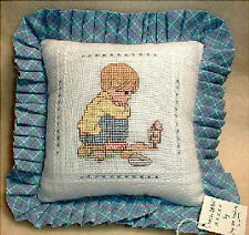PILLOW handmade counted cross stitch PRECIOUS MOMENTS BOY IN GARDEN GROWING new