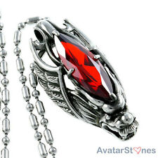 Men's 316L Stainless Steel Wing Dragon Pendant Red Stone Necklace Chain P4V73B