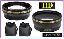 2-Pcs Pro HD Lens Telephoto + Wide Angle for Panasonic Lumix DMC-FZ300 DMC-FZ200