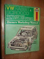 1974-1979 VW RABBIT SCIROCCO SERVICE MANUAL SHOP BOOK HAYNES REPAIR 75 76 77 78