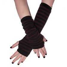 Fingerless Gloves Black and Brown Striped Armwarmers GOTH club EMO