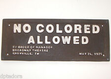 NO COLORED ALLOWED - BLACK AMERICANA CAST IRON PLAQUE