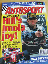AUTOSPORT MAGAZINE MAY 4 1995 HILL'S IMOLA JOY ITALY FERRARI DUO SAN MARINO GP