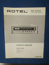 ROTEL RX-600A RECEIVER OWNERS MANUAL FACTORY ORIGINAL