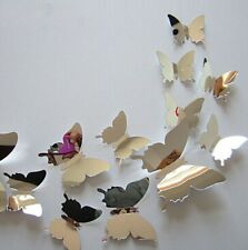 3D Mirror Silver Butterfly Wall Decorations Stickers Art Decals 12pcs Set