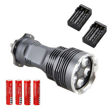 Rechargeable 8000LM 5x CREE XM-L T6 LED Flashlight Torch Lamp 2x18650+2x Charger