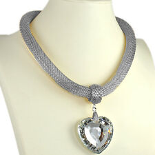 Large 5 cm heart crystal stone silver plated mesh chain choker fashion necklace