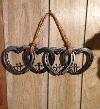ON SALE! Horseshoe Hearts, Four Linked Hearts, Horseshoe Art, Western Decor