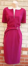 MARKS SPENCER MAGENTA BELTED TAILORED FORMAL PENCIL ZIP FRONT TUBE DRESS 16 XL