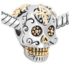 Sugar Skull Gold Plated Pandora Pendants Skeleton Charm Jewelry Bead Bracelets