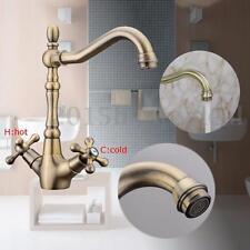 Classic Style Antique Double Handles Antique Brass Sink Mixer Tap Kitchen Faucet
