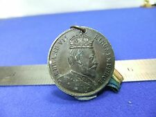 vtg badge medal edward VII 1902 coronation king and emperor souvenir on ribbon