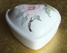 Vintage pretty Heart shaped China Trinket box  pink Paeonia flower on white back