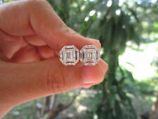 4.25 Carat Face Illusion Diamond White Gold Earrings 18K sep013 PAYPAL