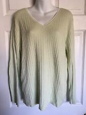 JONES NEW YORK SPORT Cable Knit V-Neck Mint Green Women's Sweater - Size 3X. EUC