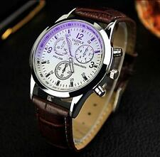 2015 HOT Luxury Mens Blue Ray Faux Leather Glass Quartz Analog Watches WHOLESALE