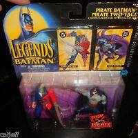 2 PACK 1995 Legends of Batman - Pirate Batman & Two Face Action Figures & cards