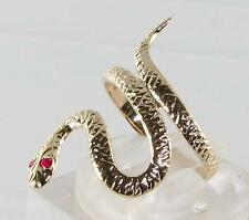 LONG 9CT 9K GOLD INDIAN RUBY EYES COILED SNAKE RING FREE RESIZE