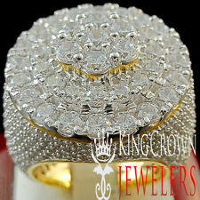 10K YELLOW GOLD OVER SILVER MENS CRYSTAL CLEAR ZIRCONIA XXL BIG HUGE RING BAND
