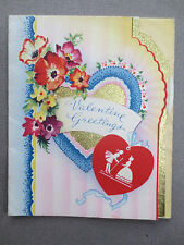 Vintage VALENTINE'S Card Crinoline Lady Foil Heart Valentine Wishes 1950s OLD