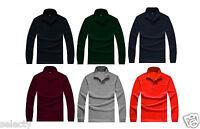 New Mens Long Sleeve Plain Polo Shirt Fashion Work Wear Shirt S M L XL XXL XXXL
