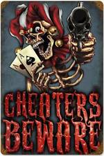 Lethal Threat Joker Ace Card Cheater Skeleton Metal Sign Man Cave Garage LETH050