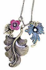 Vintage Art Deco antiques style bronze leaf and enamel flower necklace
