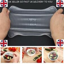 4pcs Silicone Food Fresh Keeping Saran Wrap Reusable Food Wrap Seal Cover strech