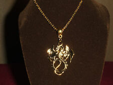 Necklace with gold color dragon pendant.Game of thrones Pagan Witch Wicca