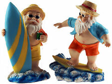 Set Of 2 Surfing Dude Gnomes 20cm Novelty Garden Figurines Ornaments