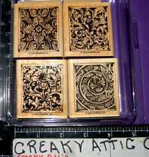STAMPIN UP ELEGANT ORNAMENTS 4 RUBBER STAMPS LEAF DECALS SWIRLS FLUER DE LIS