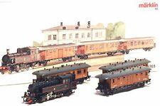 28703 MARKLIN HO SJ Swedish Train set Steam loco real wooden cars w/lights